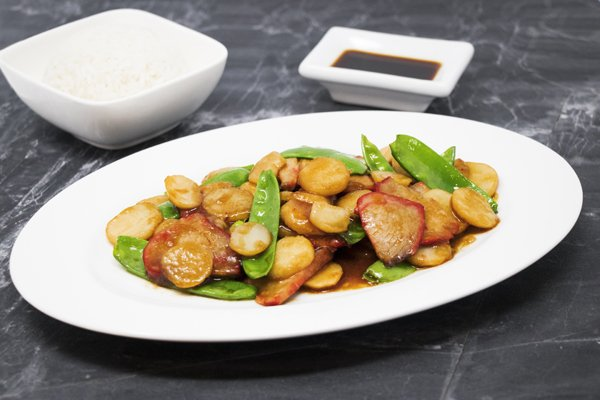 Barbecue Pork with China Peas